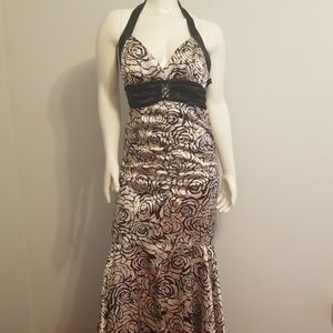 Champagne Pink Black Floral  Long Gown Size 11/12